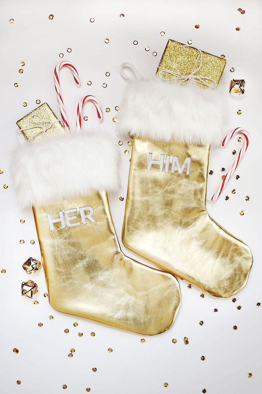 Gold leather and fur stockings DIY