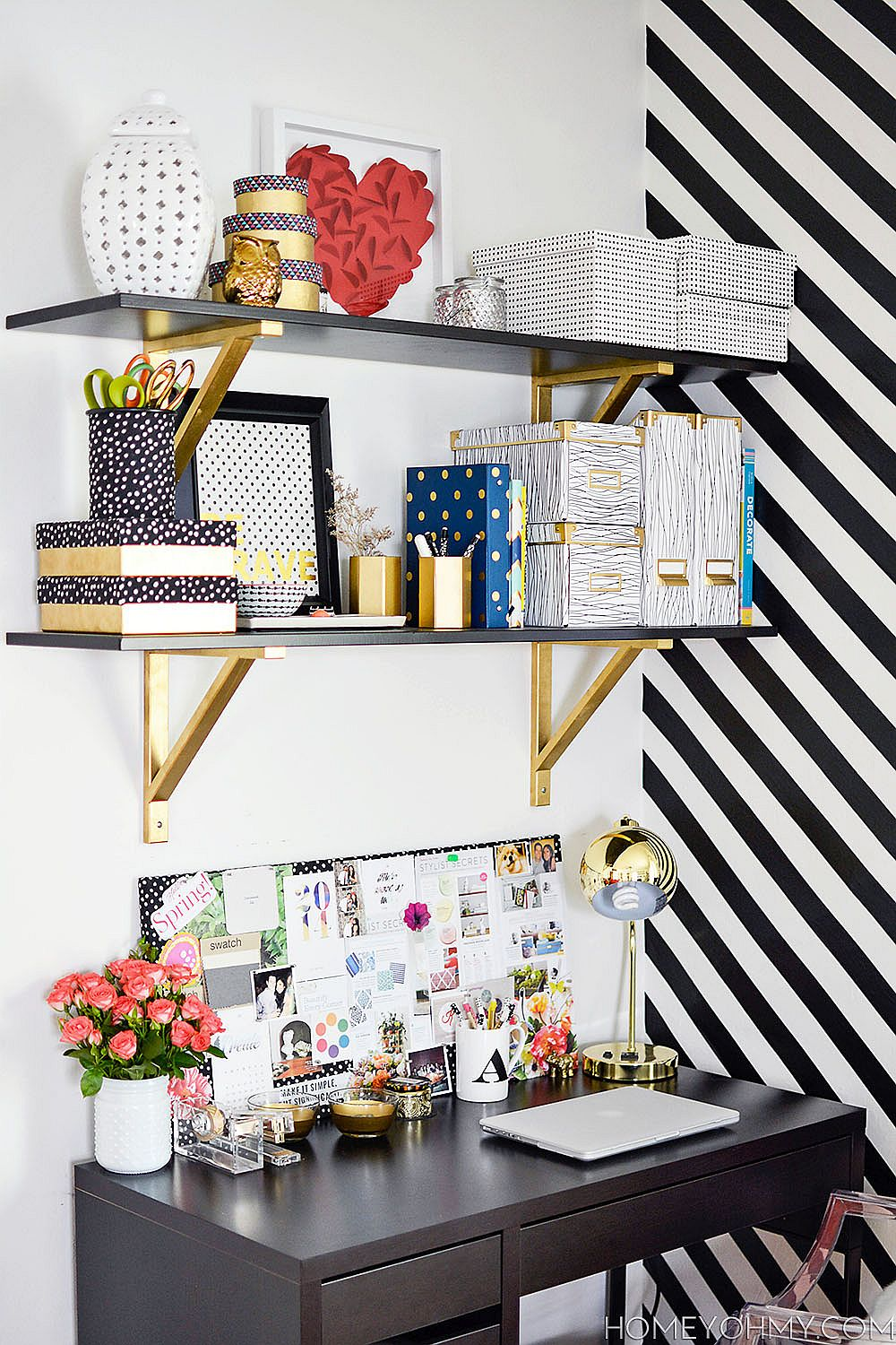 Gold spray paint transforms the mundane home office shelf