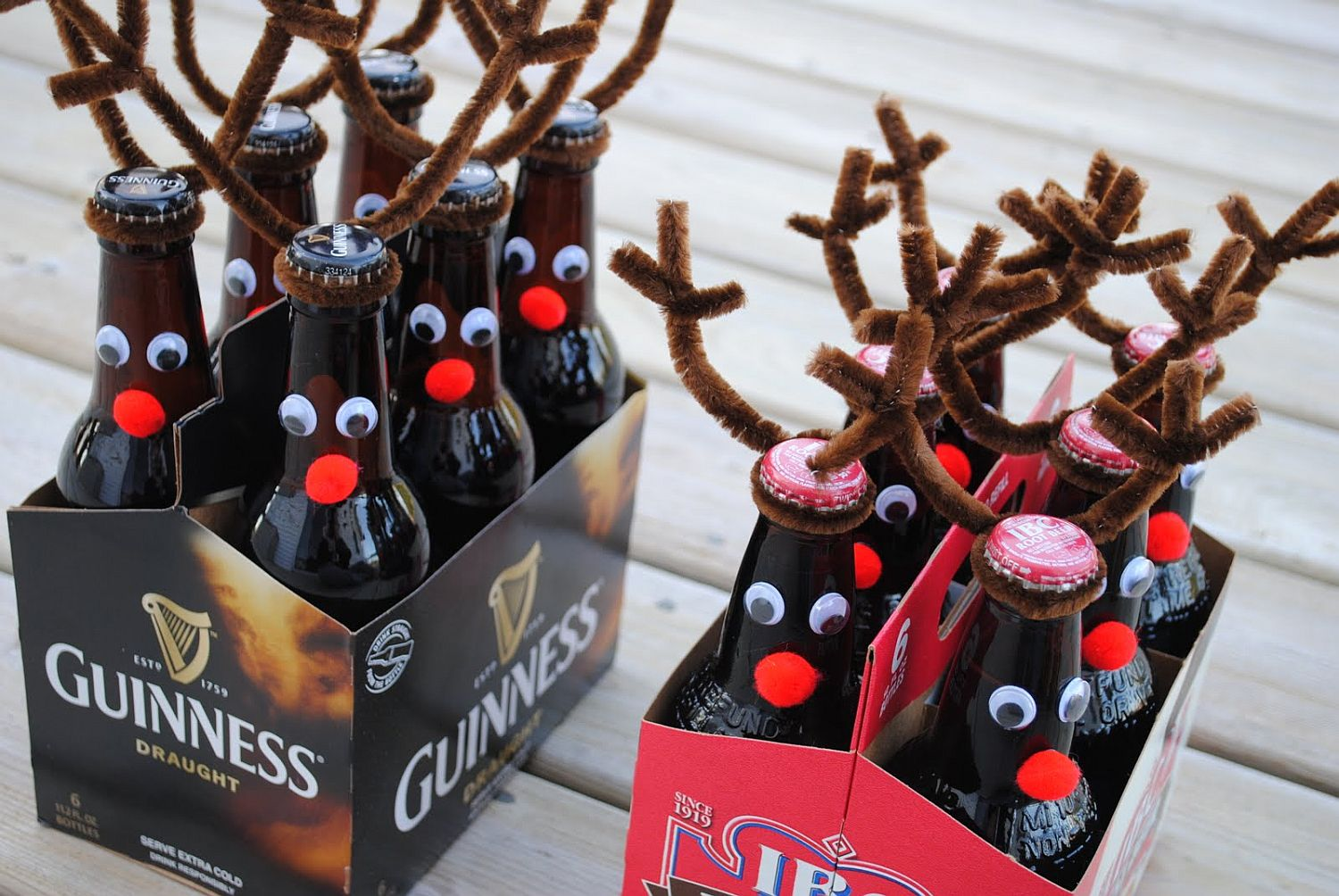 Homemade beer bottle reindeers also make great gifts for friends