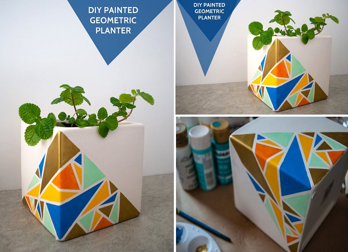 Homemade-geo-style-painted-planter