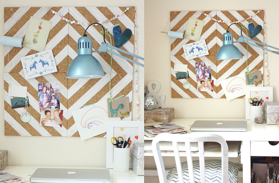Homemade painted cork-tile pinboard for the home office