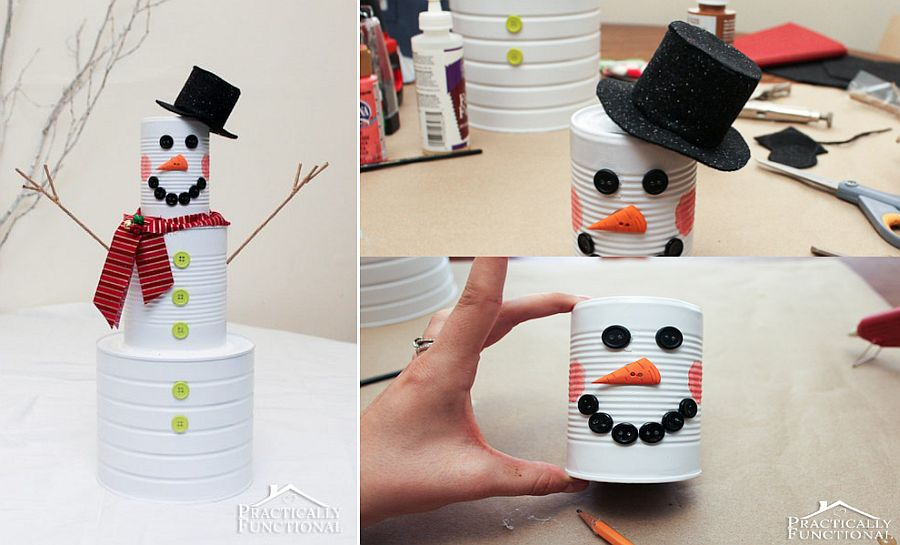 Homemade tin can snowman for kids!