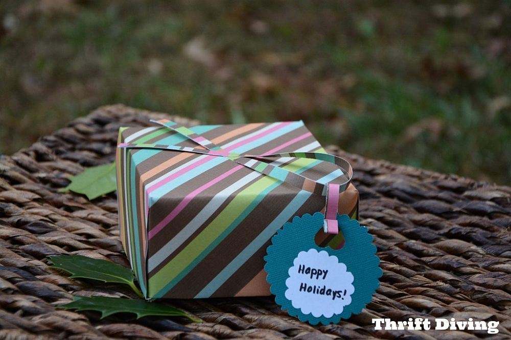 Homemade scrapbook paper gift bag