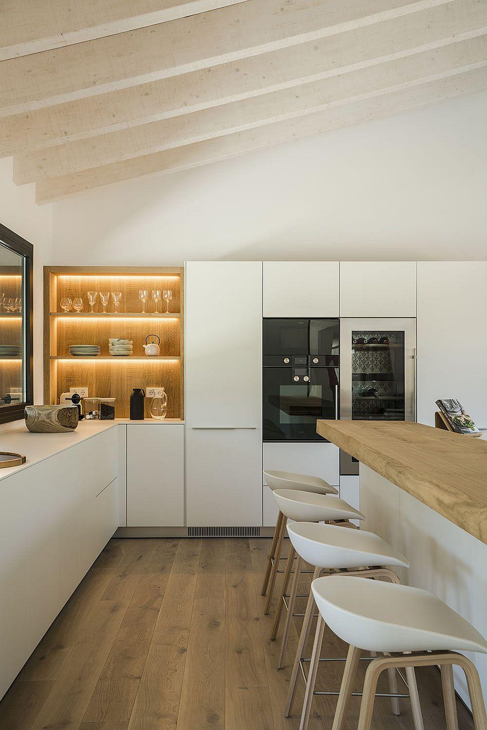 LED strip lighting for the open wooden shelf in kitchen