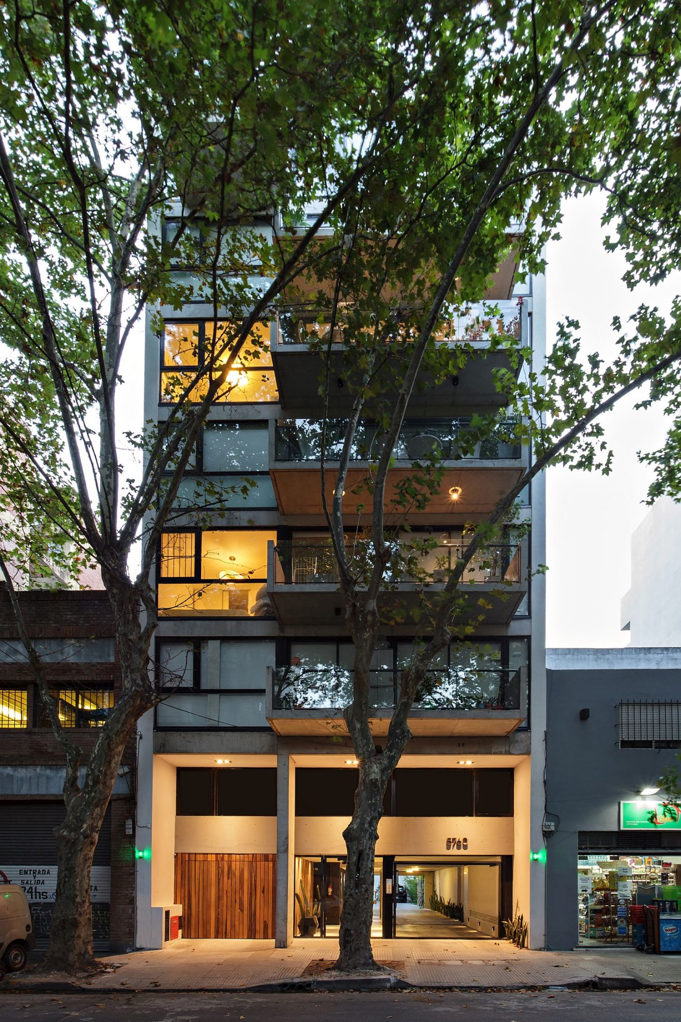 Large trees bring a small sense of privacy and greenery to the urban dwelling