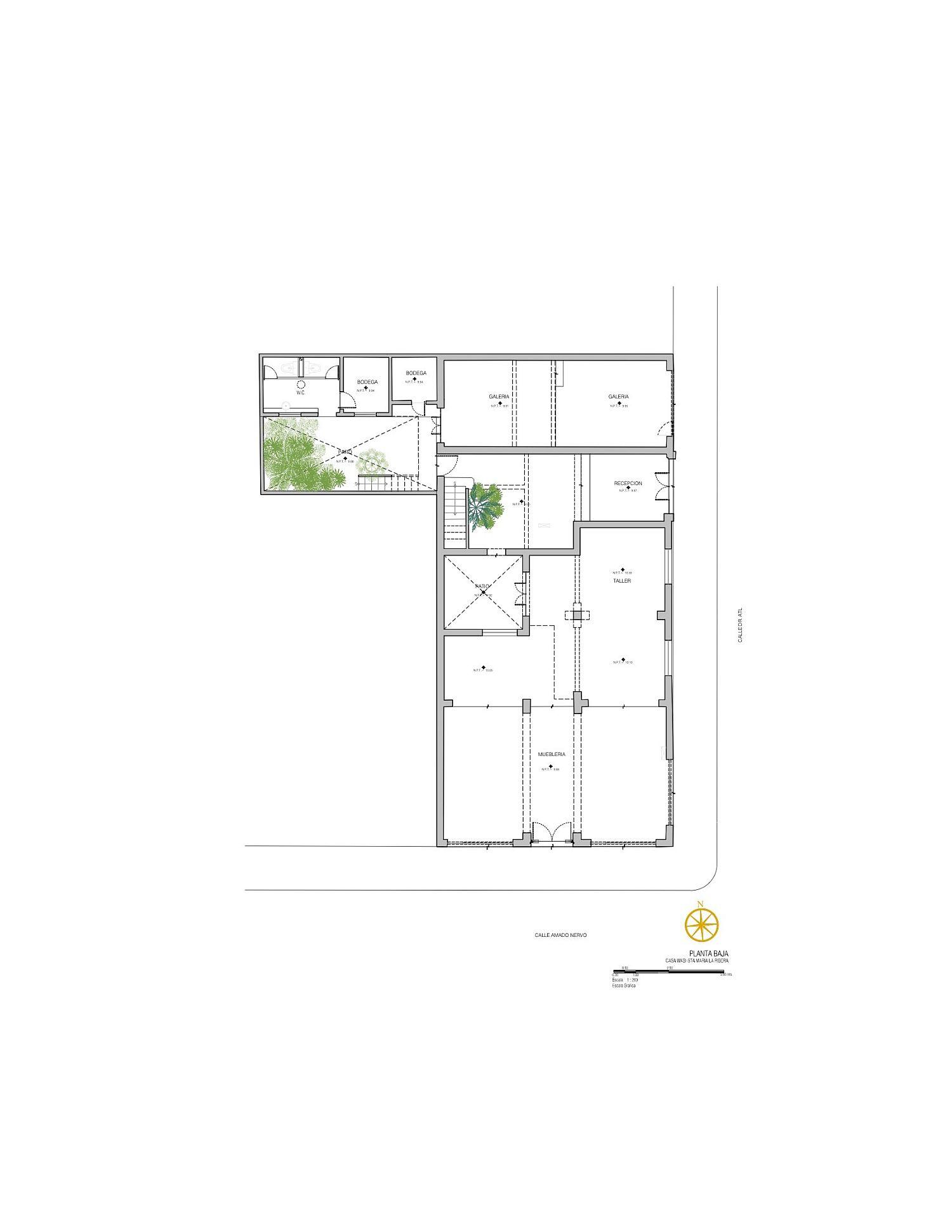 Lower level floor plan of Fundacion Casa Wabi Headquarters