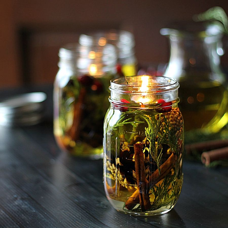 Mason jar oil candle lamp