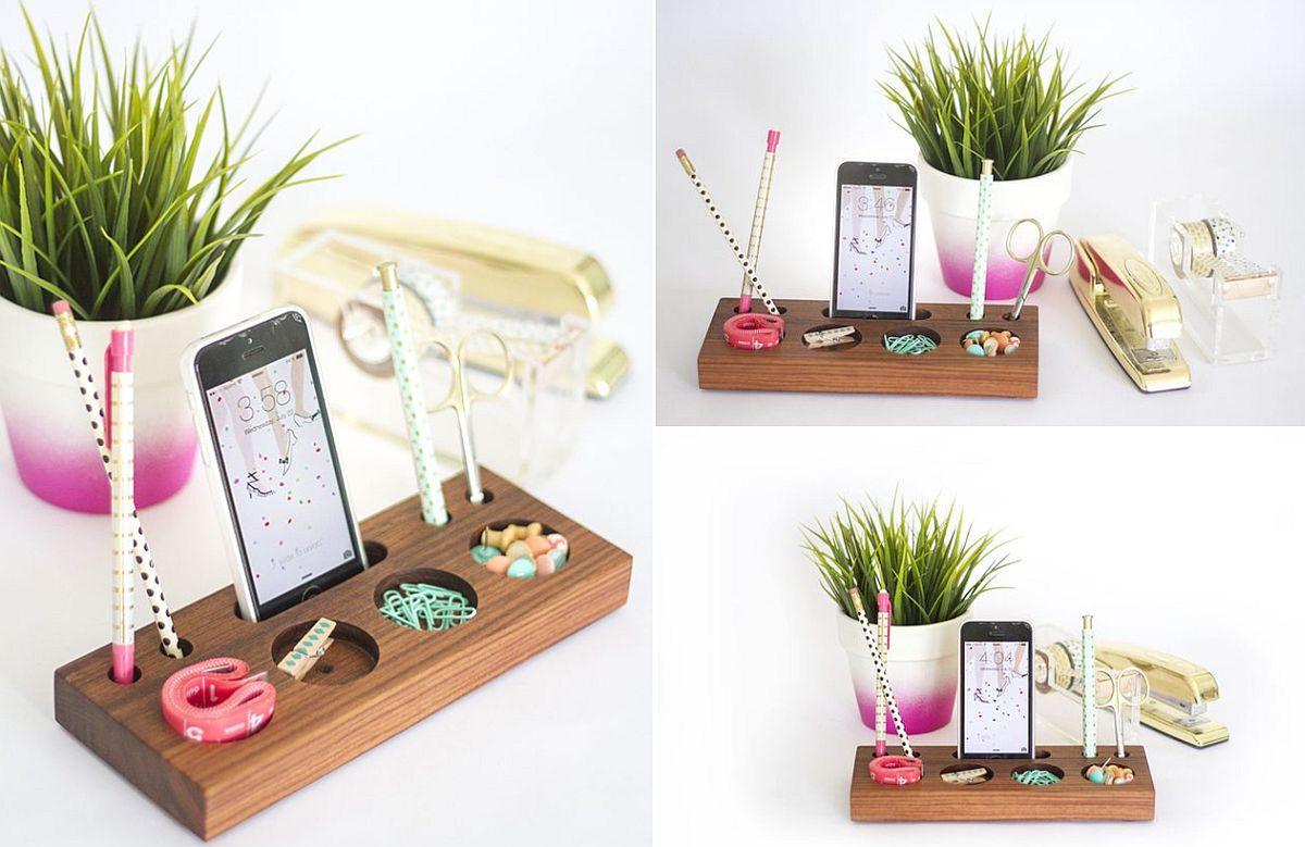Modern Desk Organizer crafted using a Block of Wood
