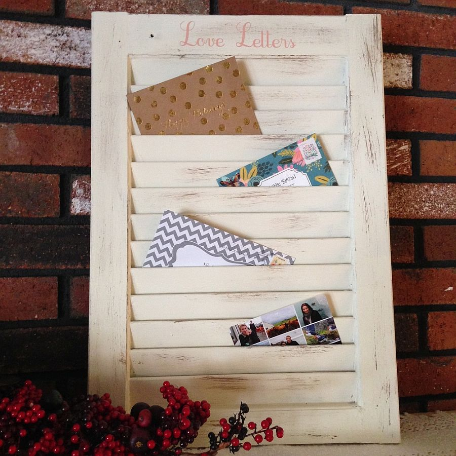 Old Window Shutter upcycled into a smart Mail Organizer
