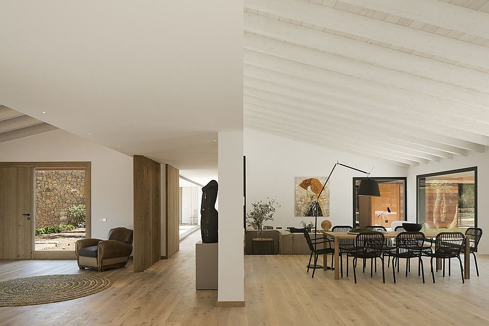 Open plan interior of the light-filled Barcelona home