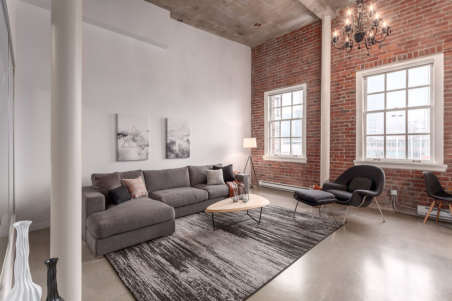 Original brick walls of the apartment give it an exceptional visual appeal