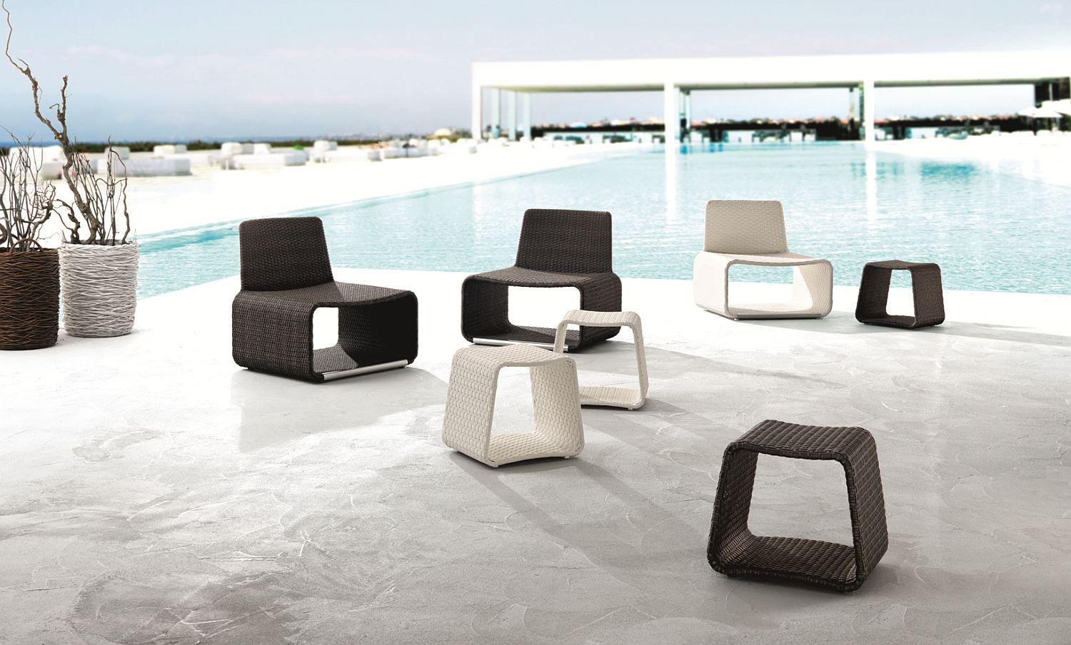 Outdoor chairs and side tables in black and white