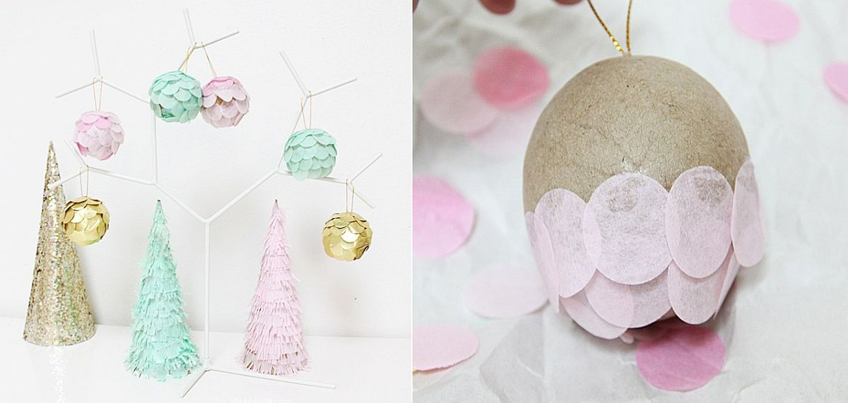 Pastel DIY scalloped Christmas ornaments