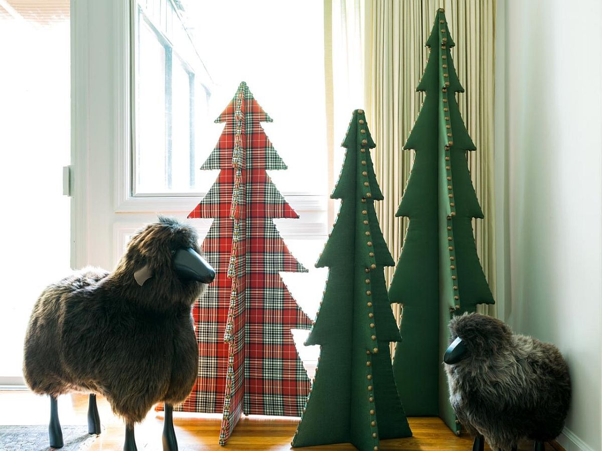 Replace the more expensive Christmas tree with cool upholstered tree