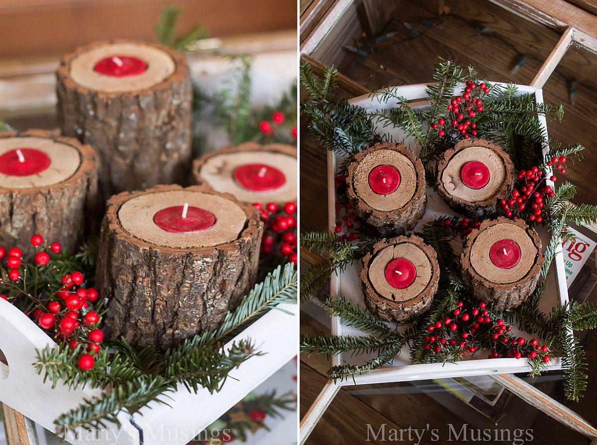 Rustic DIY wood candle holders