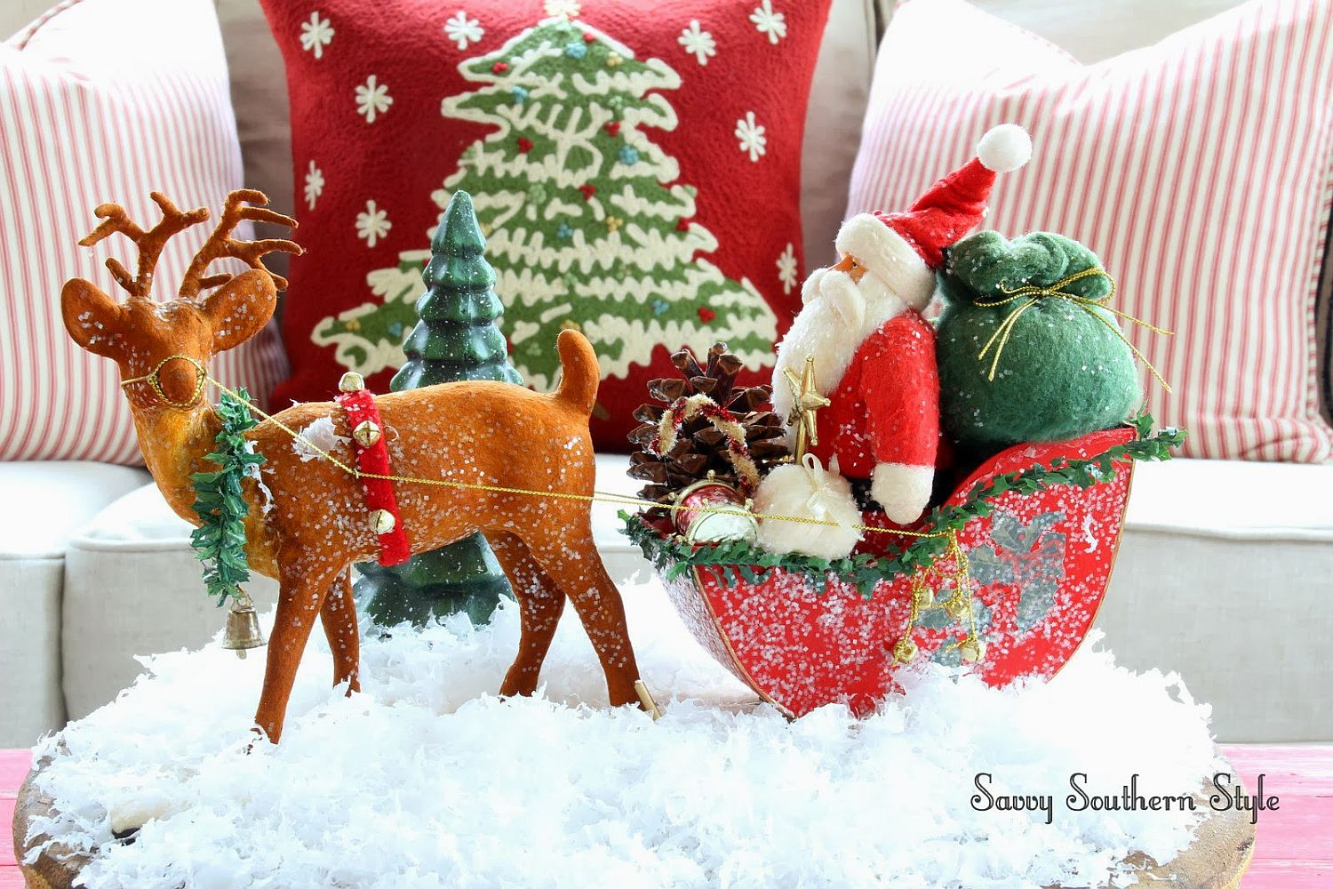 Santa and his sleigh make a fabulous coffee table centerpiece that steals the spotlight