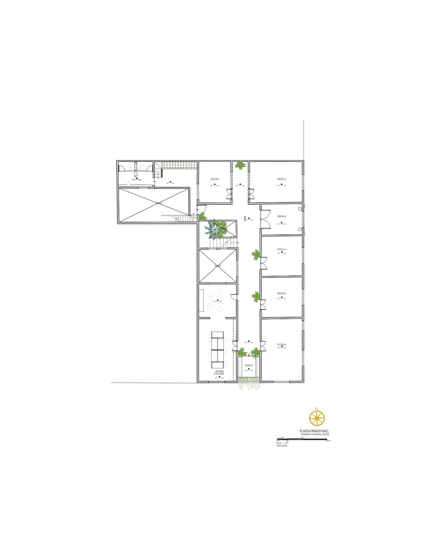 Upper level floor plan of the revamped gallery in Mexico