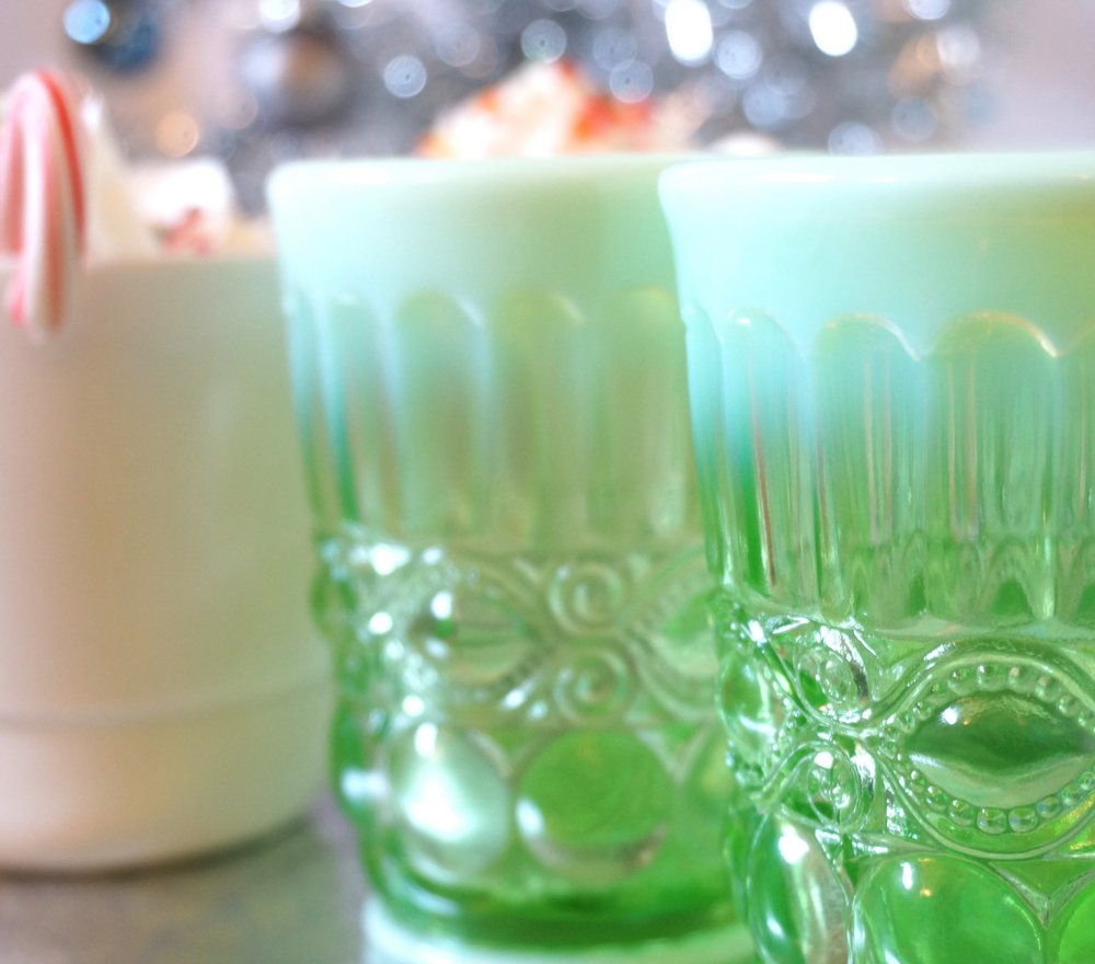 Vintage-style glassware adds charm