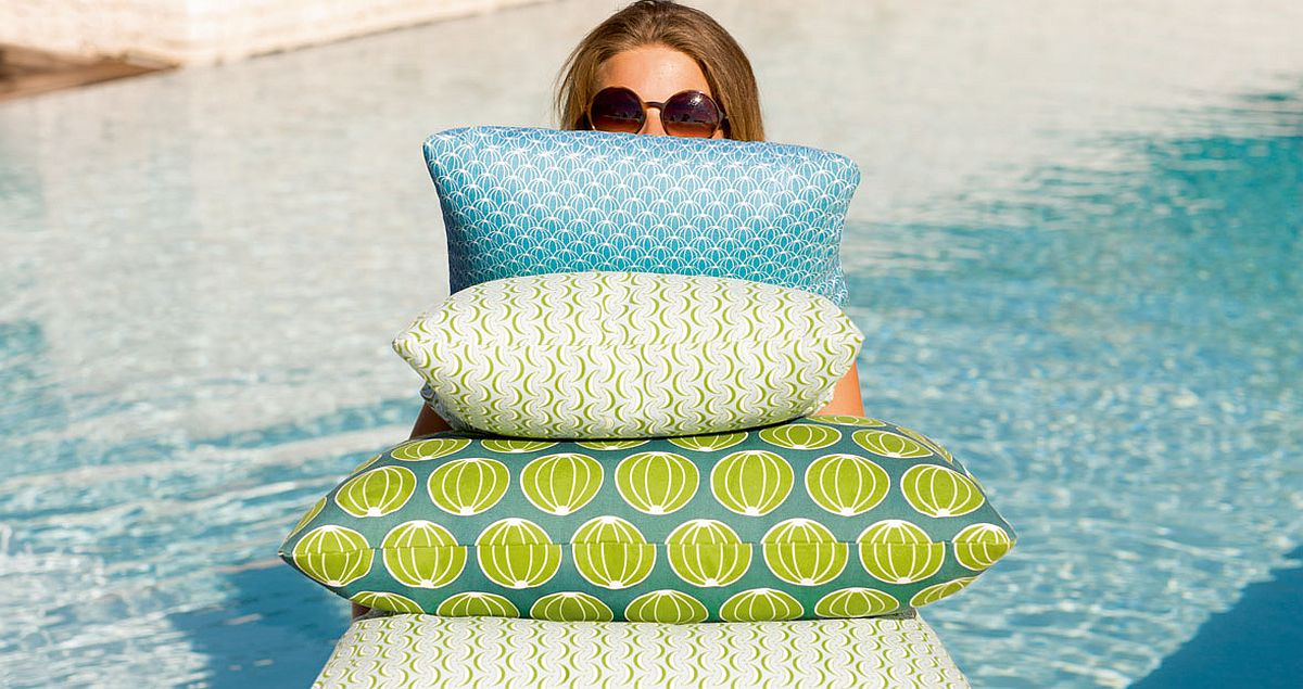 Water-repellent and chlorine-resistant outdoor pillows