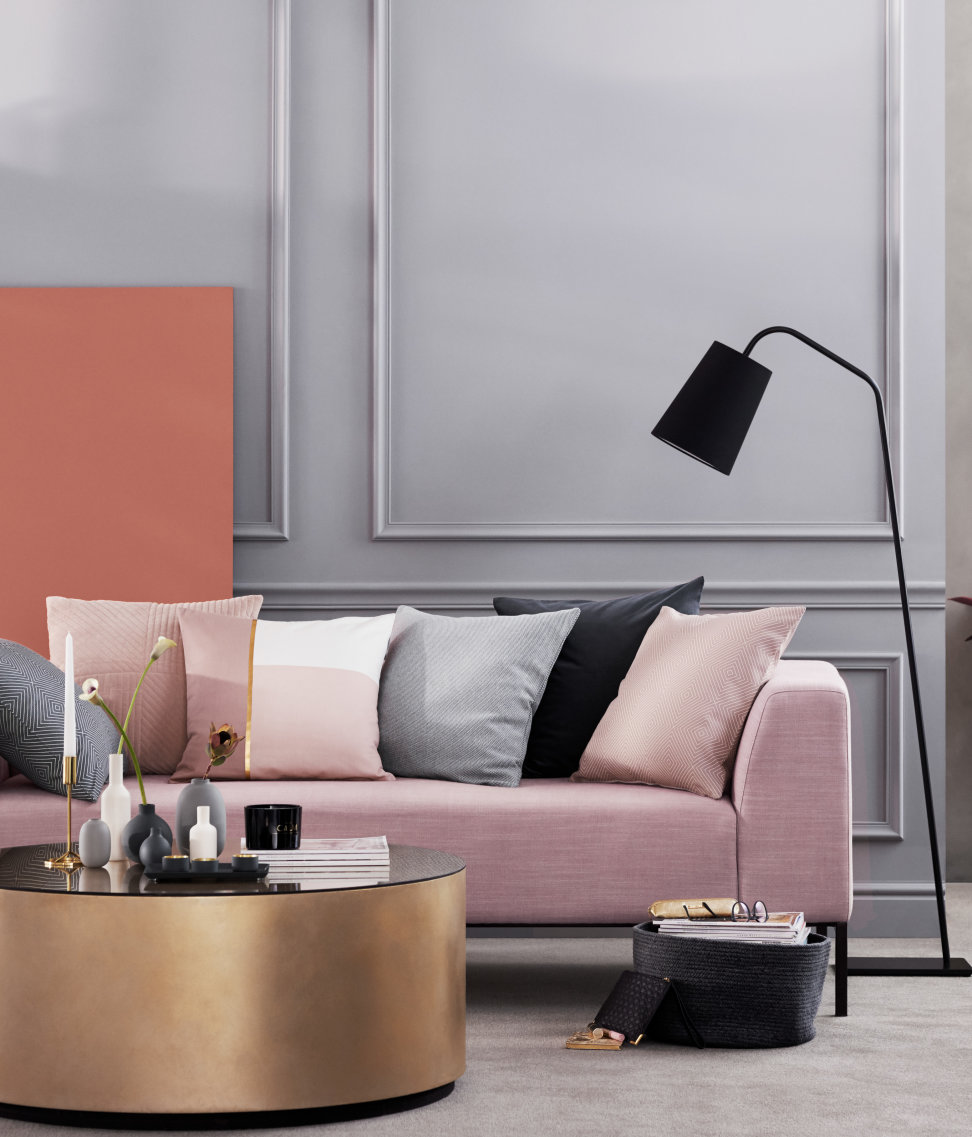 A rosy vignette featuring comfy seating
