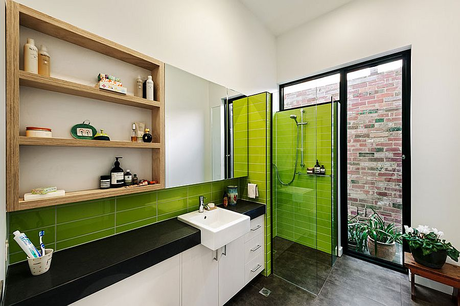 A-touch-of-lime-green-brings-brightness-to-the-contemporary-kitchen