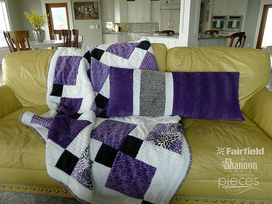 Asymmetrical body pillow in purple