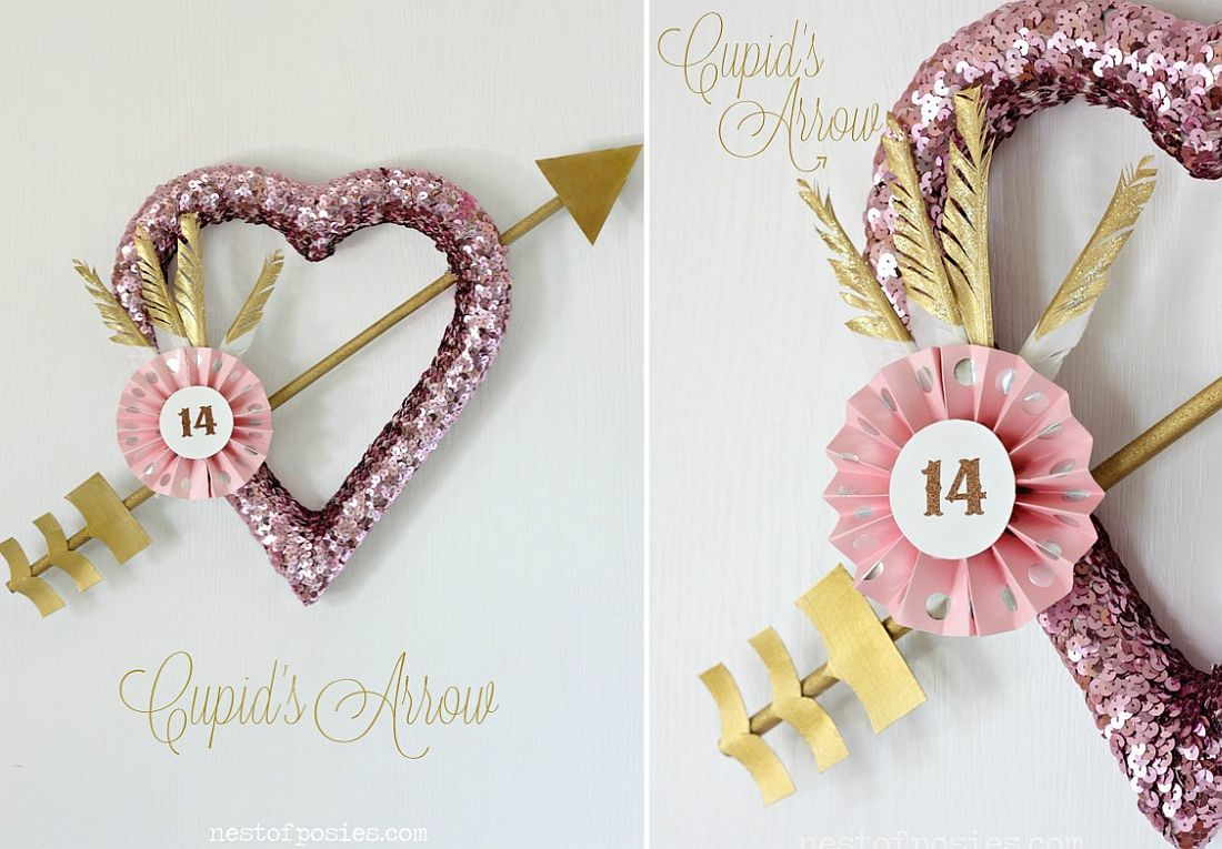 Awesome Valentines' Day wreath also incorporates a Cupid's Arrow