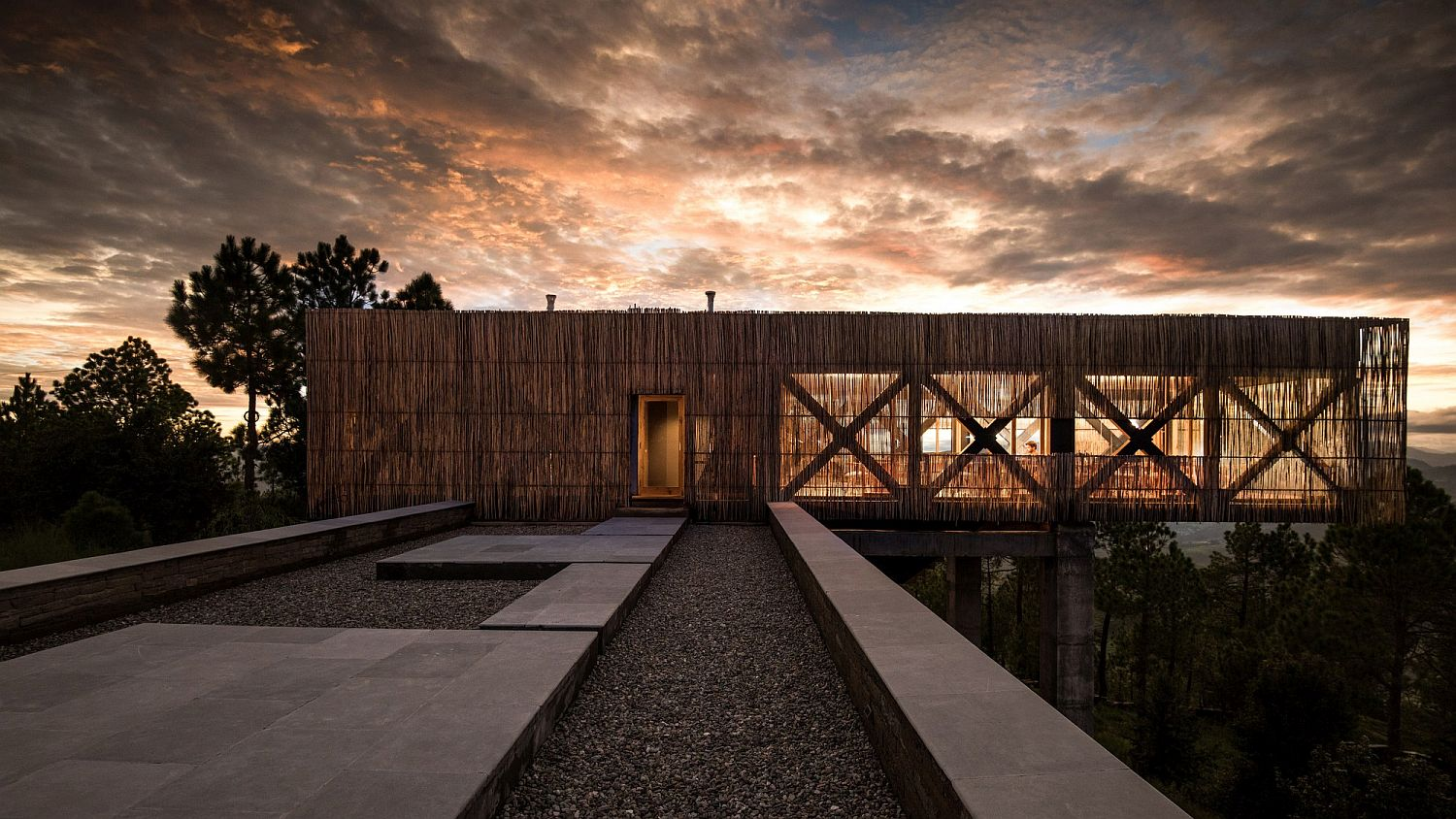 Bamboo exterior of contemporary hotel in Uttarakhand