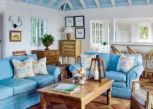 View In Gallery Exquisite Beach Style Living Room In Wood And Bright Blue  [From: ]