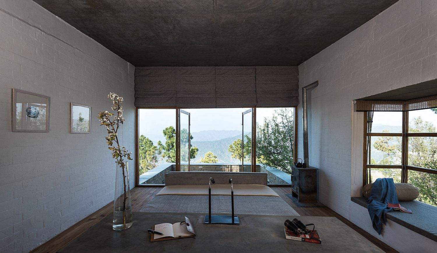 Bedroom with private balcony and a stunning view of the Himalayas