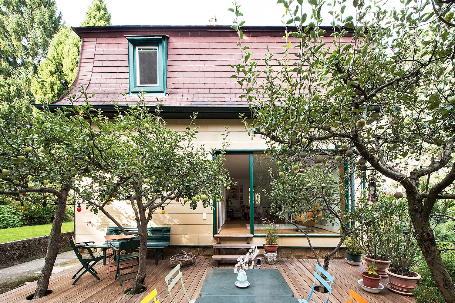 Beuatiful-larch-deck-with-trees-connects-the-revamped-home-with-the-enchanting-shed