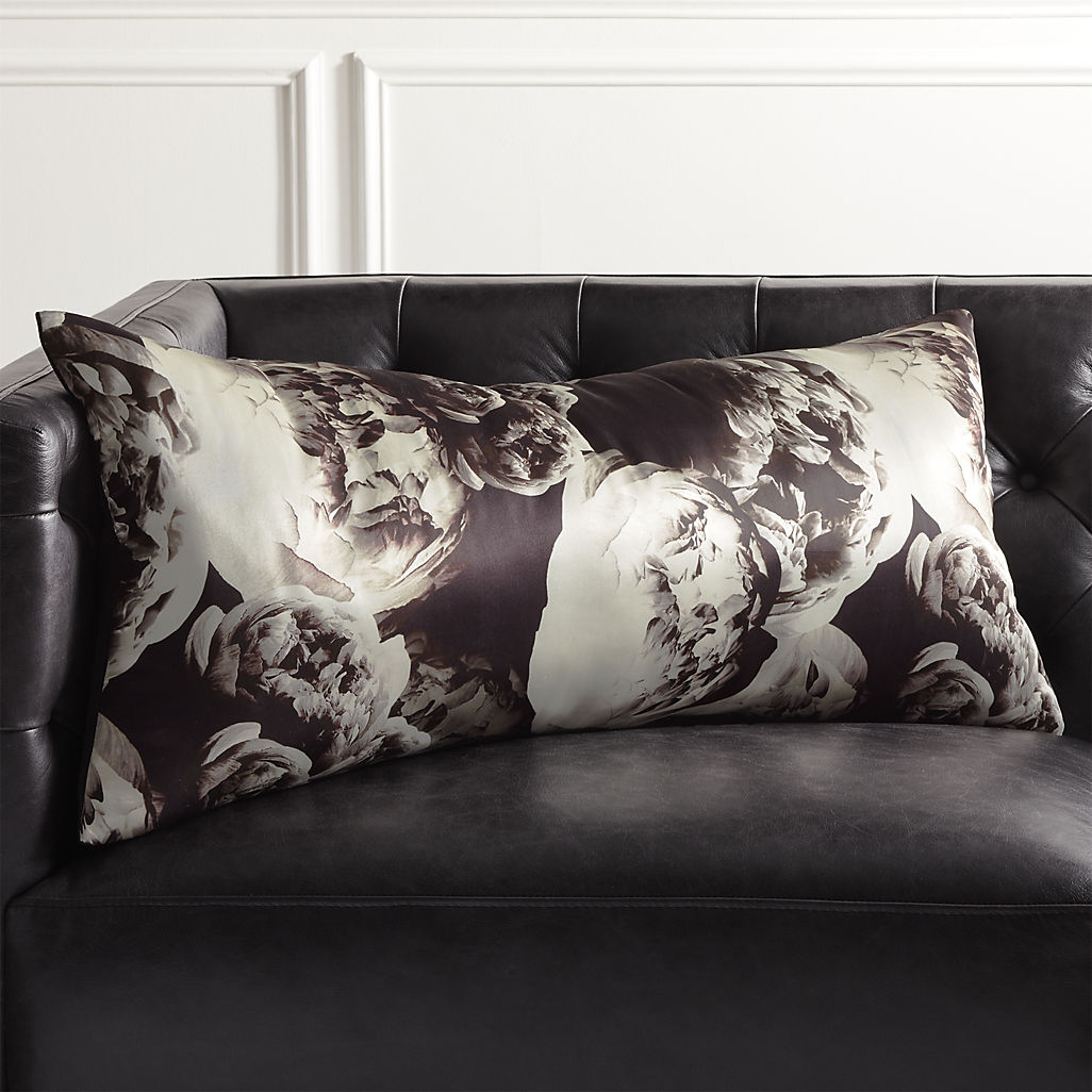 Black and white silk floral pillow