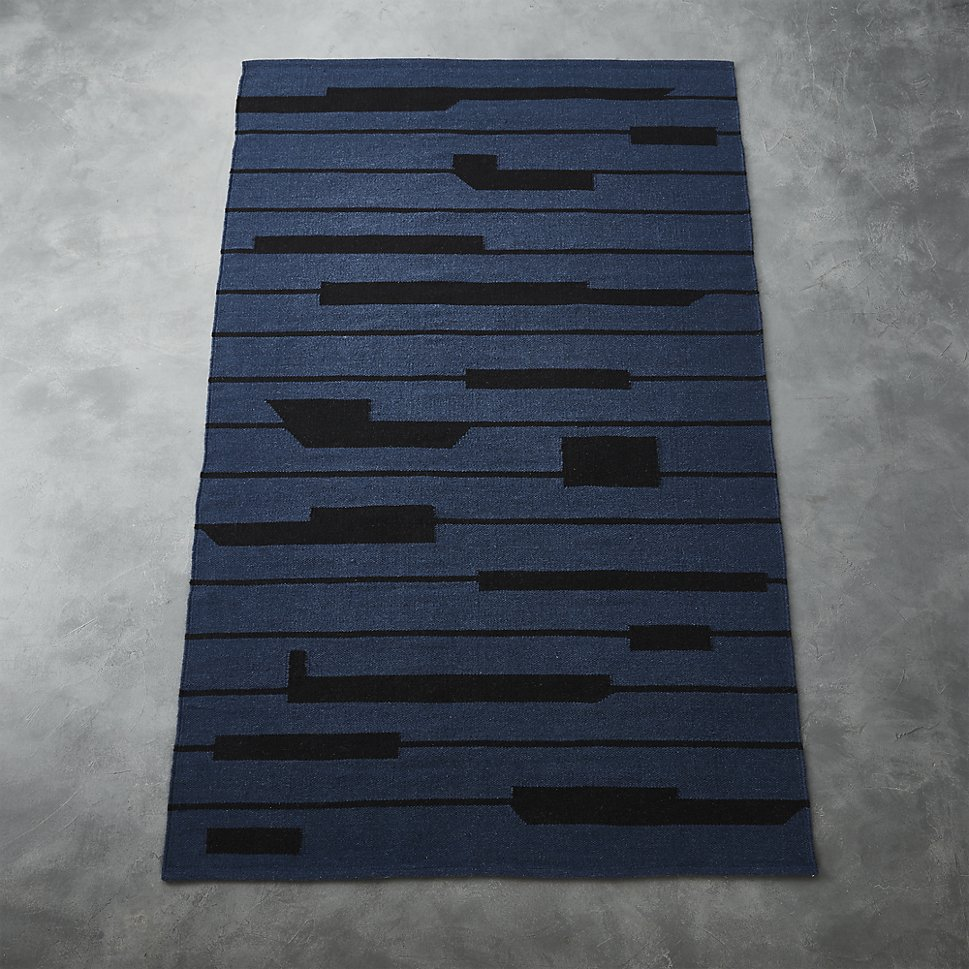 Blue and black modern rug