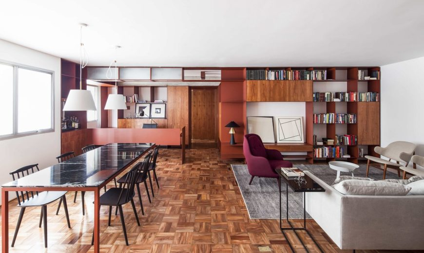 Cheerful Burgundy Brilliance Enthralls at this Adaptable Sao Paulo Apartment