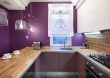 Contemporary-kitchen-in-wood-and-dark-purple-is-a-showstopper-217x155