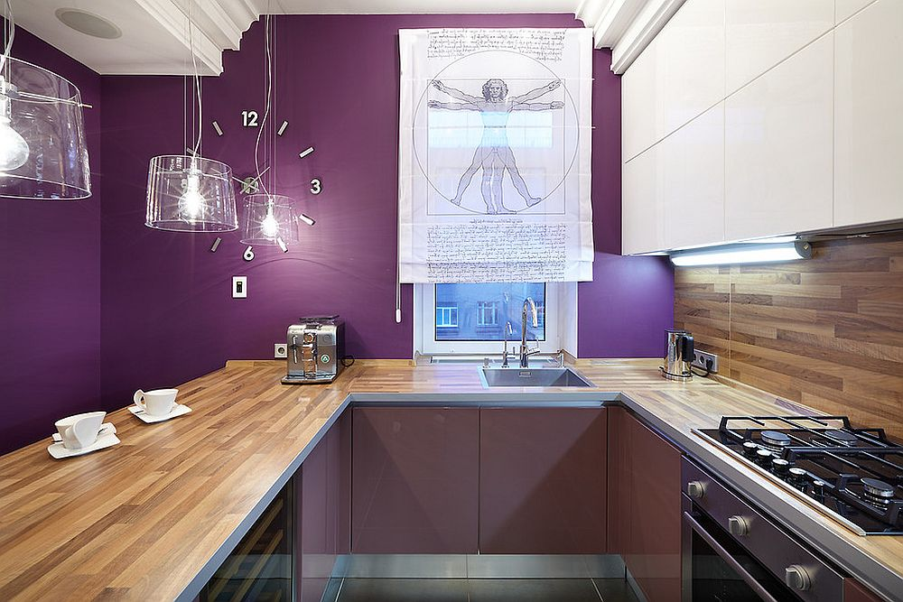 Contemporary kitchen in wood and dark purple is a showstopper