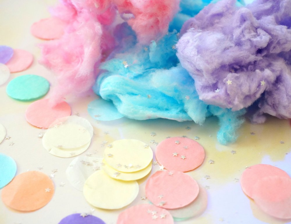 Cotton candy, confetti and stardust