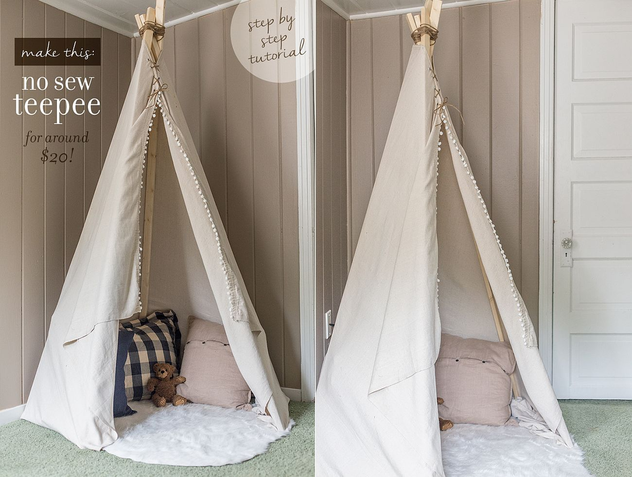 DIY Dropcloth Teepee built for just $20