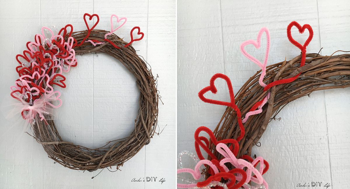 DIY Valentines Day wreath made for under $5