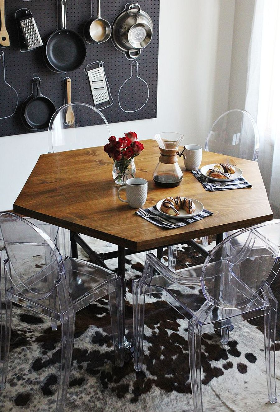 DIY hexagon dining table with industrial style legs