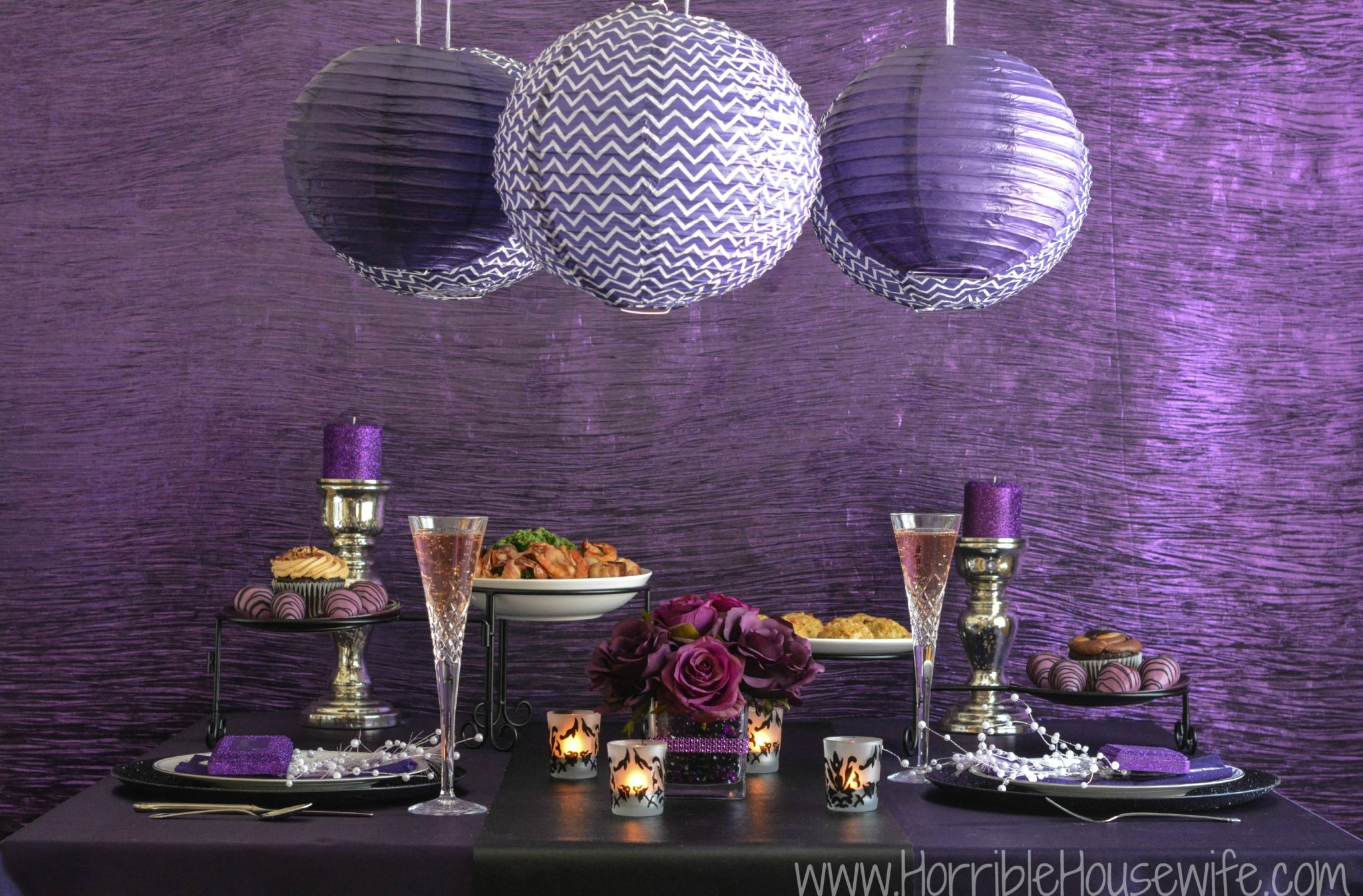 DIY paper lantern in many shades of purple