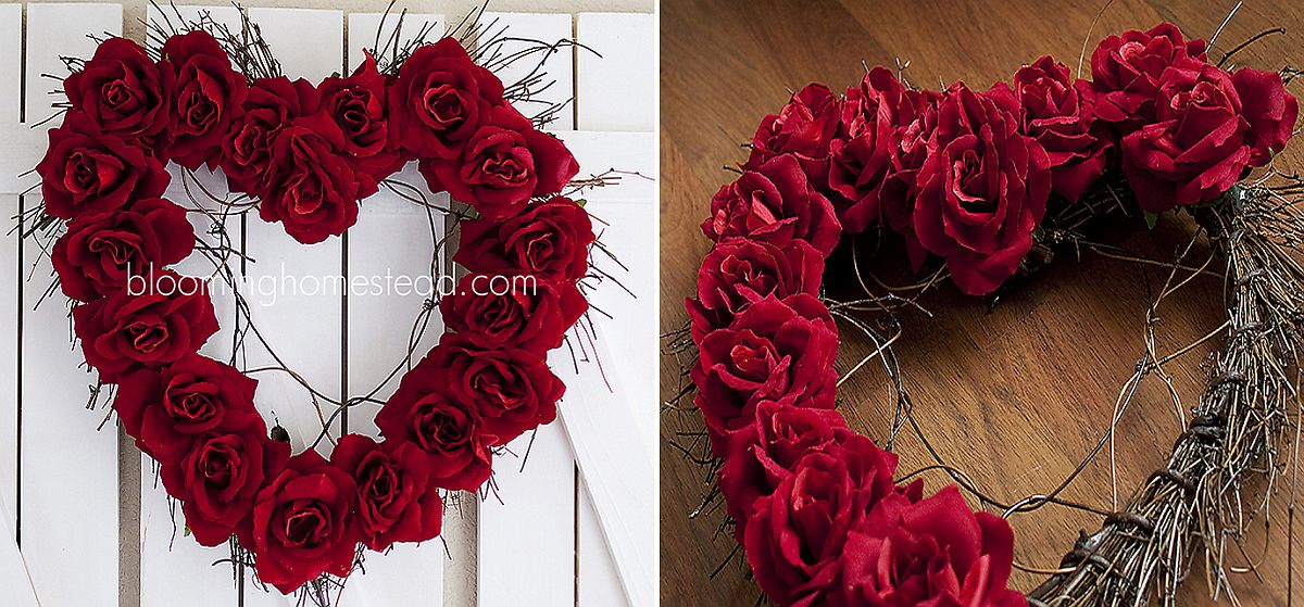 Easy Valentine's Day wreath using red roses