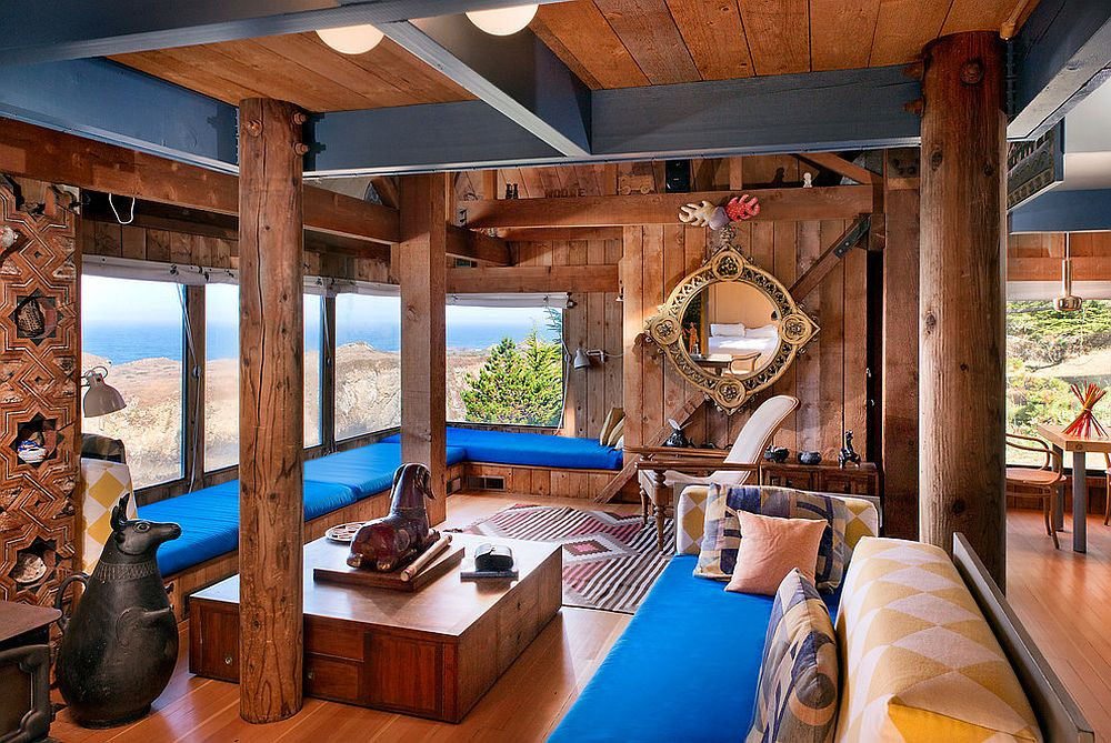 Exquisite beach style living room in wood and bright blue