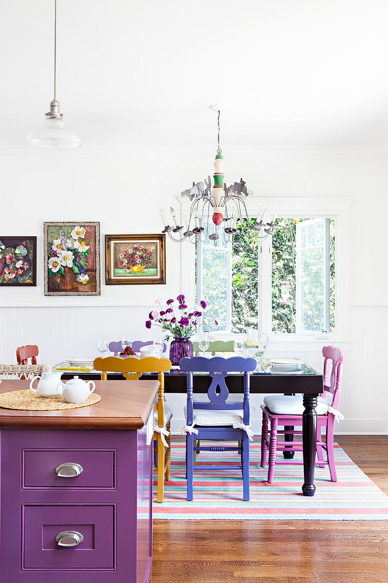 Fun way to bring violet and purple to the kitchen and dining space