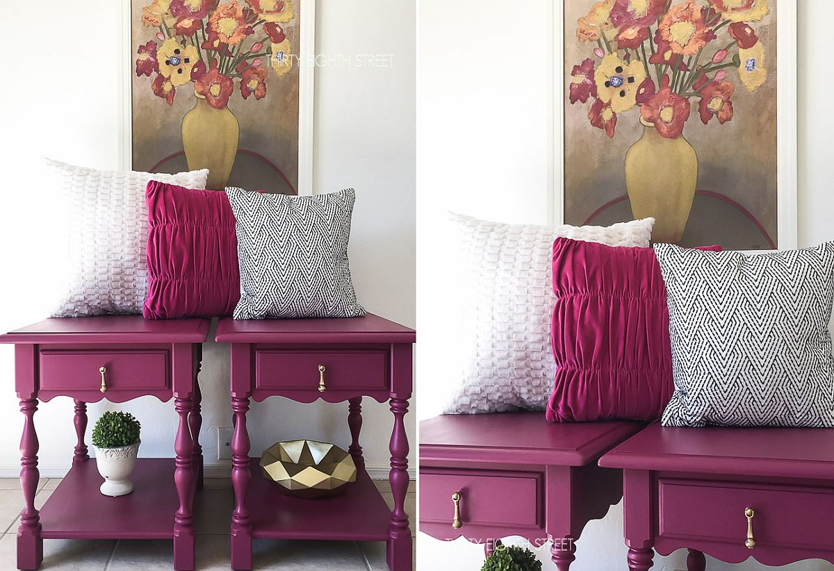 Give your old nightstand a makeover with purple paint