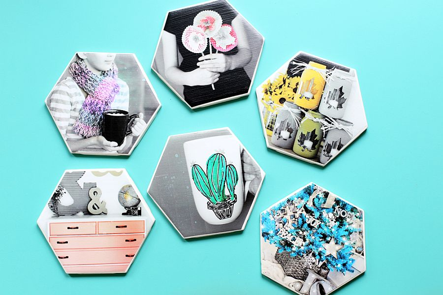 Gorgeous DIY Hexagon Photo Coasters