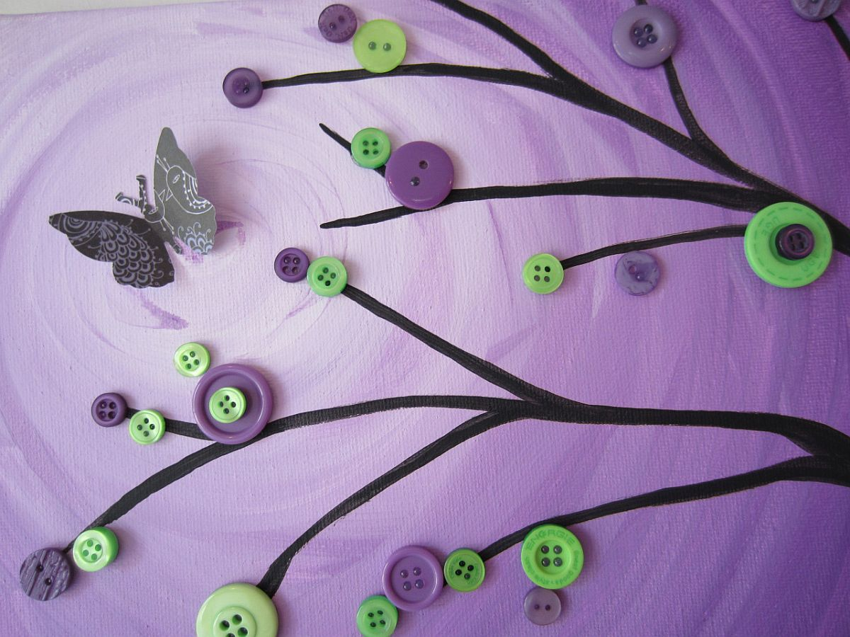 Gorgeous and colorful button tree and background are showstoppers