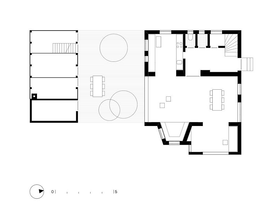 Ground floor plan of revamped 1930's house and shed in Austria