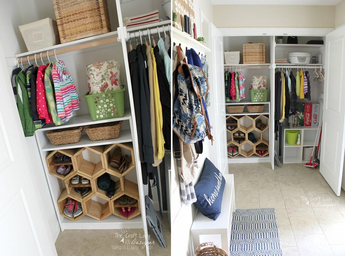 Hexagon-DIY-shoe-rack-idea