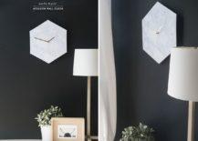 Homemade-Hexagon-Marble-Wall-Clock-217x155